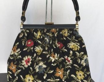 1950s Vintage Floral Tapestry Carpetbag