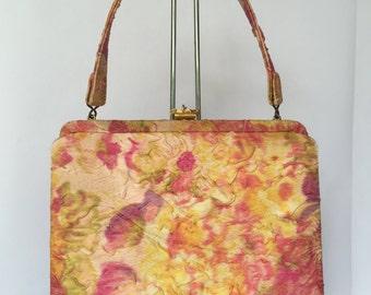Vintage 1960s Watercolor Handbag / Purse