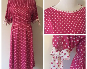 Vintage 1980s Pink and White Polka Dot Polyester Dress