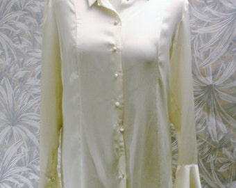 Nipon Studio Soft Blouse in Cream with Fabric Buttons and Flared Cuffs-Size 14-Made in Sri Lanka