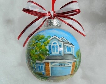 Custom House Painted Ornament, Handpainted Personalized House Ornament, House Christmas Ornament, Family Home Painting, House Couples Gift
