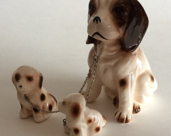Vintage Brown Spotted Spaniel Mother Dog with Puppies on Chain