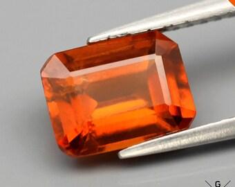 Hessonite Garnet Octagon 2.07ct. Natural Stunning Medium Reddish Orange Hessonite Garnet loose gemstone cut Hot orange Garnet