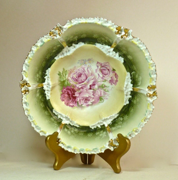 RS PRUSSIA Bowl ~ Mold 53a ~ 10.5 Inches Wide ~ Red Mark RS Hallmark~ Pinks and Greens ~ Circa Early 1900s ~ Art Nouveau ~ Cottage Chic
