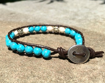 Turquoise and Silver Handmade Beaded Leather Single Wrap Bracelet