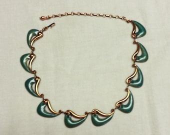 Vintage, Matisse, green enamel and copper wave necklace, 1950-1960