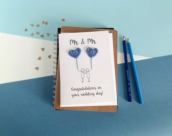 Mr & Mr card - Gay wedding card - Groom and Groom card - Mr and Mr wedding