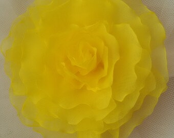 Headband Chiffon flower Accessories headband flower headband handmade headband Baby Girl Headband shabby chic headband yellow chiffon flower