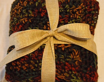 Dark Brown/Variegated Fall Colors Blanket Throw, Afghan, Small Afghan, Blanket, Throw, Crochet Blanket