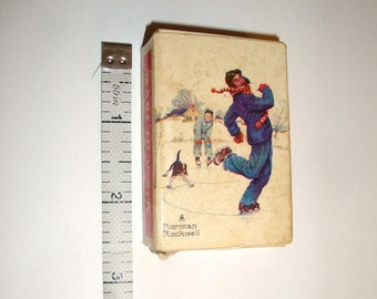 "Vintage mini deck of cards. Features Norman Rockwell skating scene on the backs. Complete deck of  52 cards plus 2 jokers. 2.5"" by 1.75"""