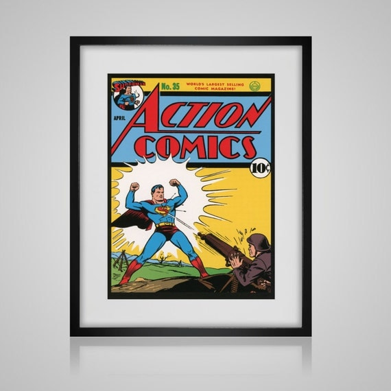 Book Cover Wall Art : Framed wall art vintage comic book cover superman