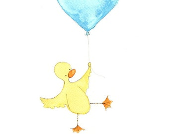 Custom Name Art, Duck Balloon Print, Nursery Decor, Personalised Print, Kids Wall Art, Yellow, Babys room