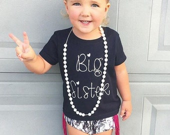 SALE!!! Big Sister Shirt;Short Sleeve Black T-shirt;Kid's Big Sister Shirt;Announcement Shirt;Custom Kid's Big Sister Shirt;Black Kid's Tee