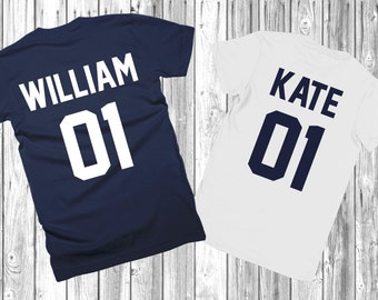 """Couple T-shirts set """"William and Kate"""" set of 2 couple T-shirts King Queen Tshirt set of 2 couple shirts Kate William 100% cotton"""