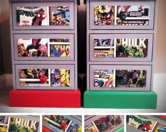 Marvel Comics Bedside Tables/Chest of Drawers Hulk Spiderman
