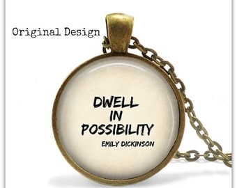 Dwell In Possibility Inspirational Quote Jewelry Graduation Gift Inspirational necklace Bohemian jewelry Bohemian necklace Boho Jewelry 115