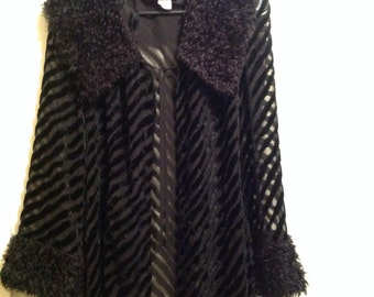 80's velvet striped sheer robe light coat with fuzzy faux fur collar