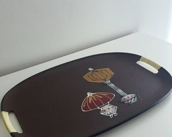 Retro Mid Century composite serving tray with wrapped handles - large retro bar entertaining tray - brown with hand painted design