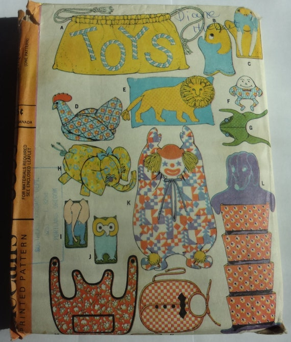 Animal Pillow Patterns To Sew : Items similar to Animal Sewing Pattern, Stuffed Toys Sewing, bonnet totes animals bags head band ...