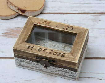Wedding Glass Ring Box Bearer Personalized Ring Holder Rustic Wedding Ring Box Wedding Box