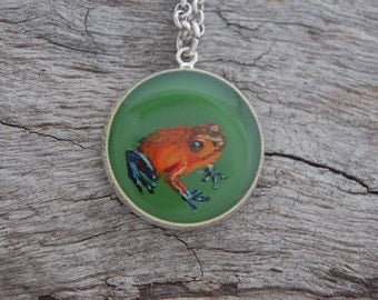 Hand Painted Strawberry Poison Dart Frog Pendant