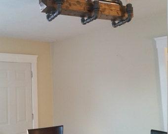 distressed wood beam chandelier ceiling pipe light barn wood reclaimed industrial rustic steampunk modern boho bohemian chandelier barn board