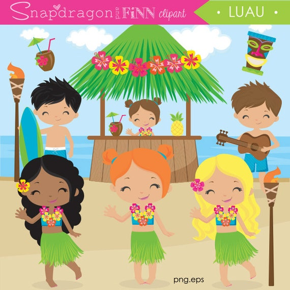 Luau Clipart Hula Beach Summer Clip Art Tiki Hut Surfer Boy Girl Party Commercial License Included