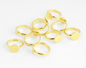 Gold Adjustable Ring Blanks with Glue On Pad - 10 Pieces