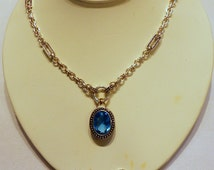AVON Demi Parure Blue Stone Silver Tone  Necklace & Earrings 1970's But Styled to Look Like 1920's Vintage