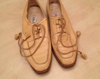 Beige Leather Loafers by Wilkes Bashford 7.5 M