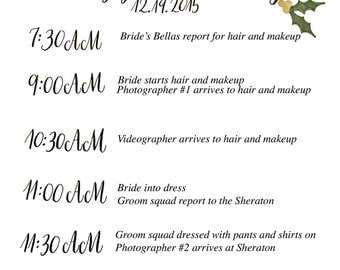 Custom Wedding Itinerary digital download 5X7 (two-sides)