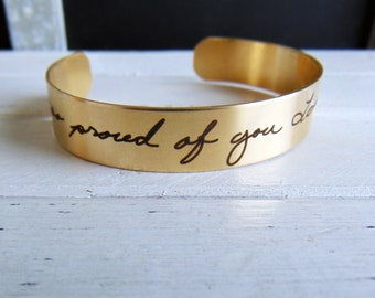 Handwritten Brass Cuff Bracelet -YOUR HANDWRITING - your text, your design,  - Perfect For Layering -Jewelry For Her or Him
