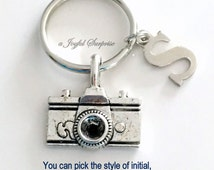 Camera Keychain, Photographer's Key Chain, Camera Keyring Gift for Photography Student Graduation initial letter custom for men female photo