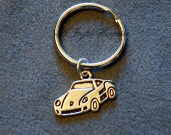 SALE - Sports Car Keychain, Car Key Chain, Automobile Keyring, Gift for Salesman Silver Race Car Charm Pewter Pendant Christmas Present  147
