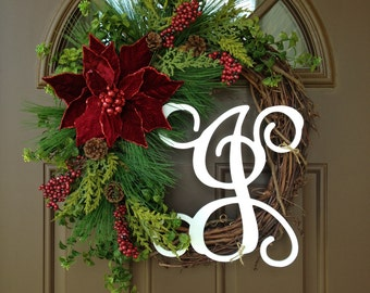 initial wreaths for front doorHoliday Decor Christmas Front Door Wreath with Initial
