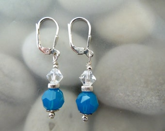 Caribbean Blue & Moonlight Swarovski Crystal Earrings