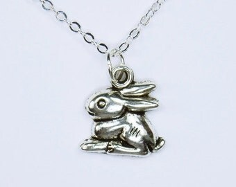Necklace Bunny rabbit pendant on silver link chain necklace Easter jewelry Bunny animal
