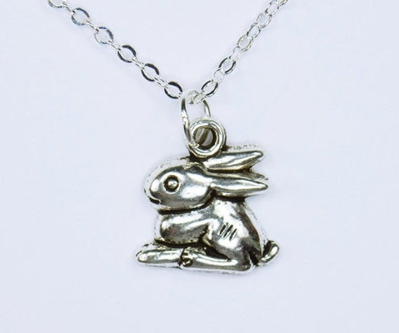 Necklace bunny rabbit pendant on silver chain necklace Easter Jewelry Bunny Animal