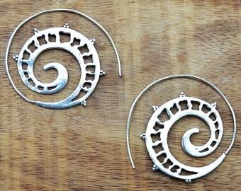 Tribal Earrings, Gypsy Earrings, Spiral Silver Earrings, Silver Hoop Earrings, Ethnic Earrings, Large Hoops, Belly Dance Jewelry