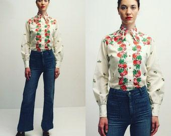 Vintage 70's Floral Shirt Hippie Boho Blouse