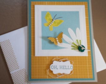 All occasion greeting card with flower and butterflies