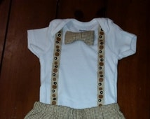 Boys cute Bow Tie bodysuit with Suspenders and paints, Birthday boy