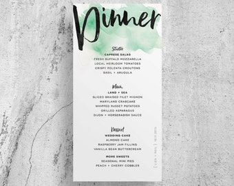 watercolor wedding menu // custom wedding menu // brush lettering // green watercolor // printable // custom