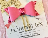 Bow Planner Clip Hot Pink with Glitter Faux Leather