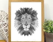 Black and White Print, Lion Tribal Art- Lion Print- Black and White Lion- Geometric Tribal Art- Polygonal Animals Black and White Lion Print