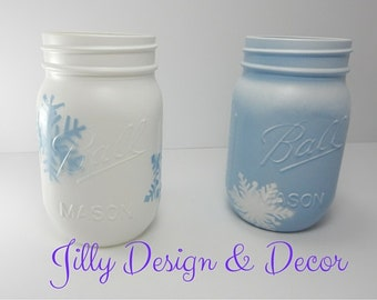 SNOWFLAKE WINTER DECOR- Mason Jar-Blue and White