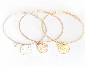 Zodiac constellation bangle bracelet, sterling silver zodiac bracelet, sign bracelet, astrology bracelet, constellation jewelry, zodiac