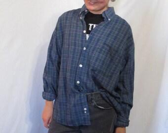 Vintage Blue/Green Oversized Flannel