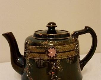 rare salopian england brown teapot - stoke on trent staffordshire jackfield ware transfer print edwardian 1905 - 1910 era winsford antique