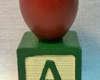 "Handpainted ""Apple"" Letter Block"